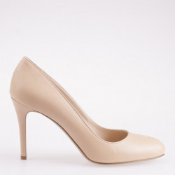Nude napa leather round toe pump