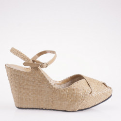 Fatima wedge in woven beige leather