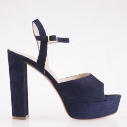 Sandalo alto in camoscio blu