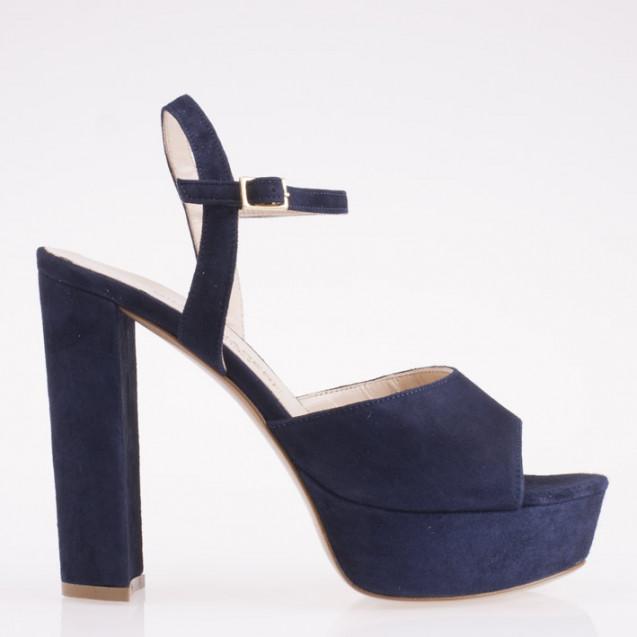 Blue suede platform sandal
