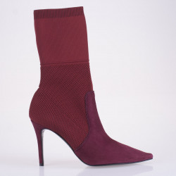 Burgundy suede sock ankle boots