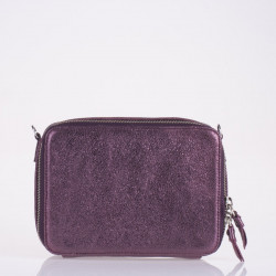 Burgundy metallic leather mini bag