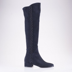 Blue suede over the knee boot