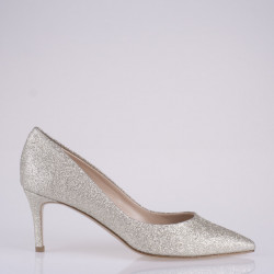 Gold glitter fabric pump