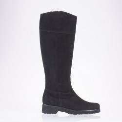 Flat heel black suede boot