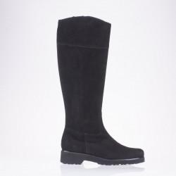 Flat heel black suede boot