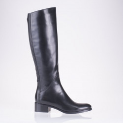 Flat black leather boot