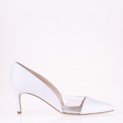 White leather and plexy medium heel pump