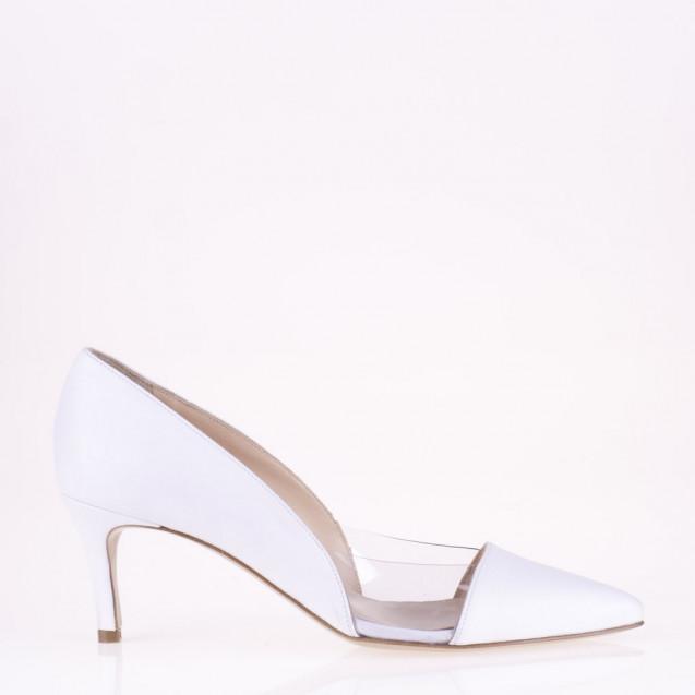 White leather and plexy medium heel pump