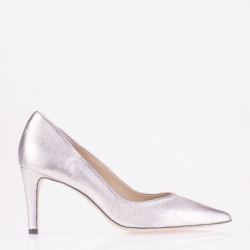 Pointy toe platinum leather medium heel pump