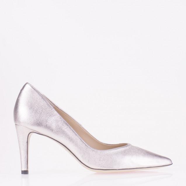 Pointy toe platinum leather medium heel pump