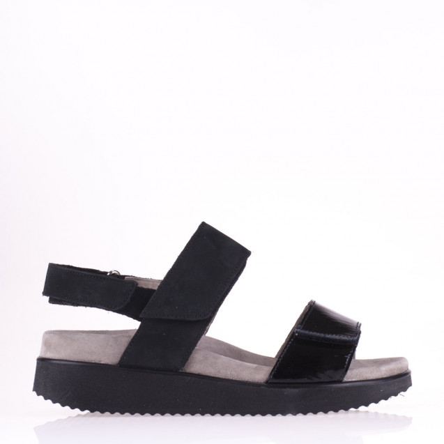 Black patent and suede comfort sandal