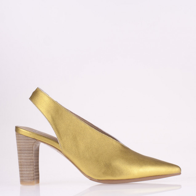 Pointy toe yellow leather slingback