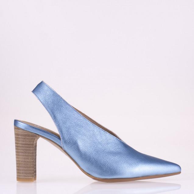 Pointy toe denim leather slingback