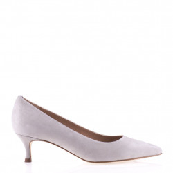 Stone low heel pump