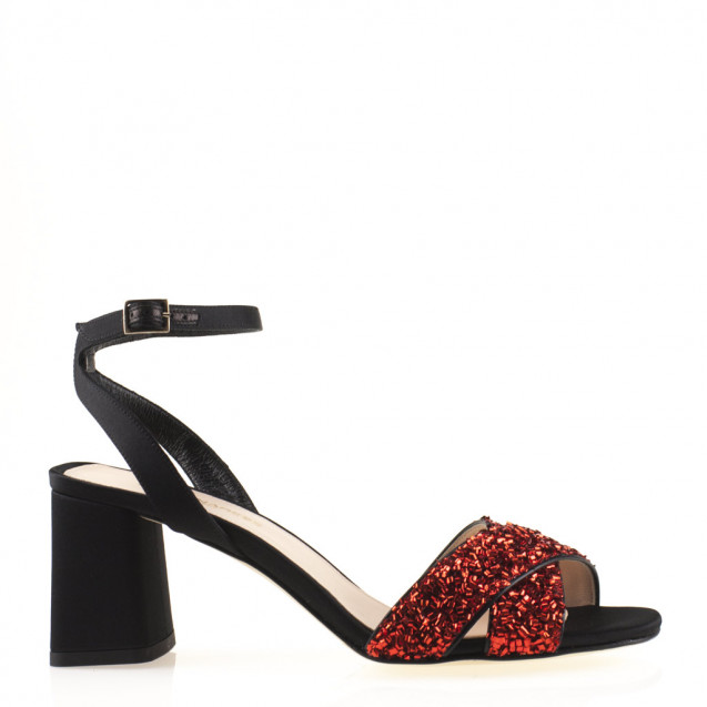 Black and red satin sandal