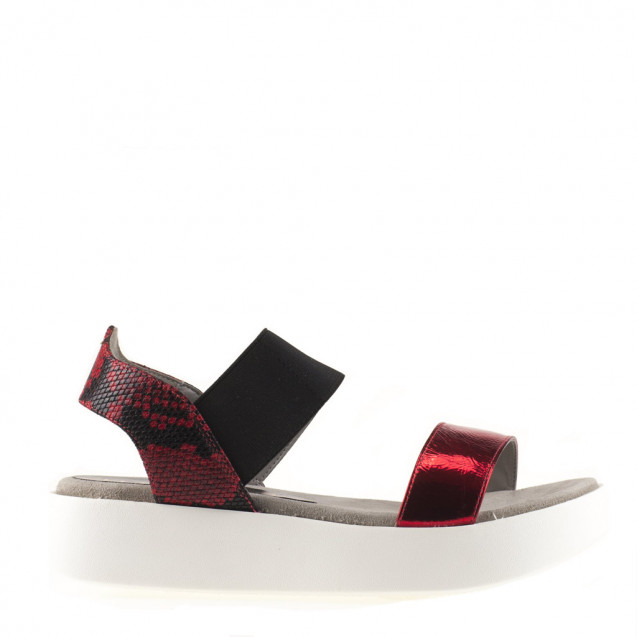 Red and white straps sandal