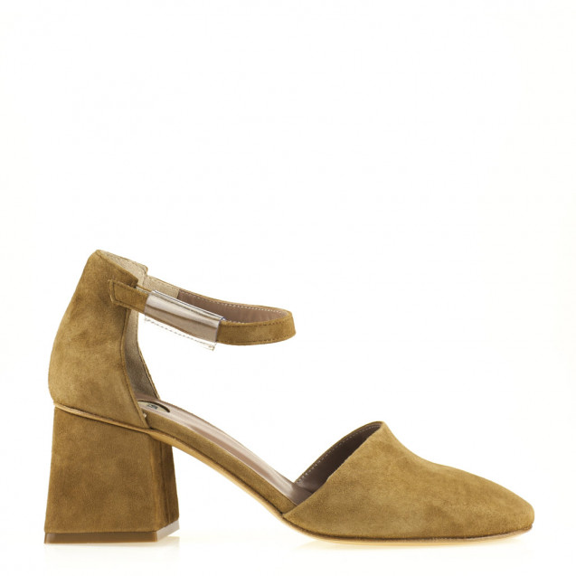 Tan suede shoes with ankle strap