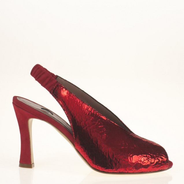 Red metallic leather open toe slingback