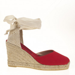 Red fabric espadrilles