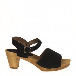 Black suede clog sandal