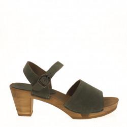 Green suede clog sandal