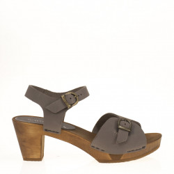 Grey leather clog
