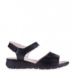 Black leather comfort sandal