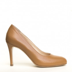 Tan napa leather round toe pump