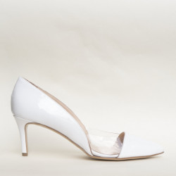 White patent leather and plexy medium heel pump