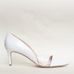 White patent leather and plexy medium heel pump