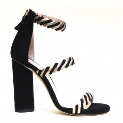 High heel back zip sandal