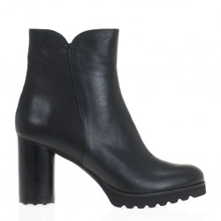 Black rubber platform ankle boots