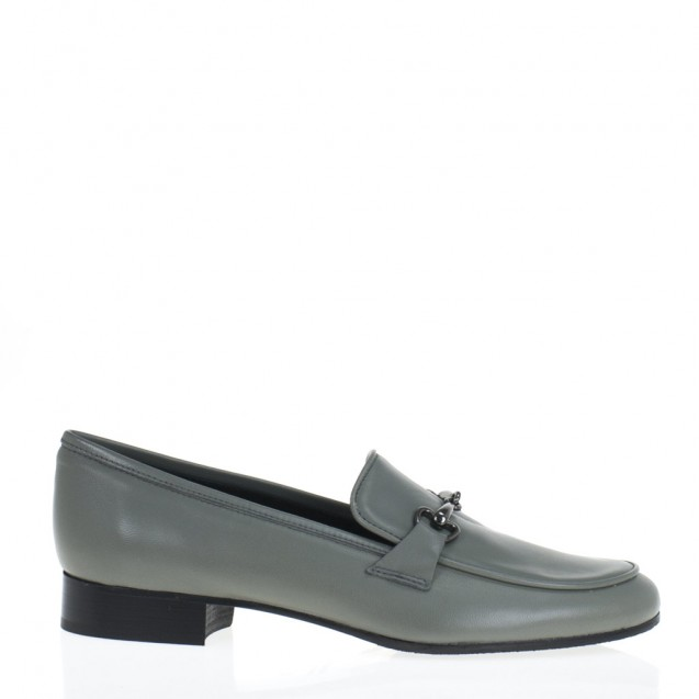 Grey leather horsebit loafer