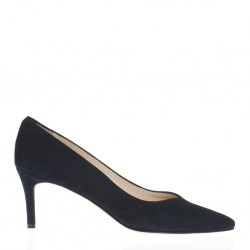 Blue suede medium heel pump