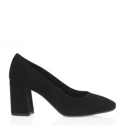 Black suede block heel pump