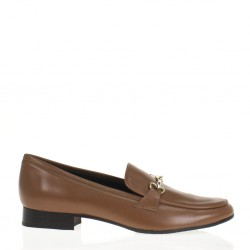 Cognac leather horsebit loafer