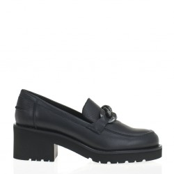 Black leather chain loafer