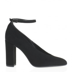 High heel black suede pump