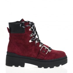 Red Peonia lace-up ankle boot