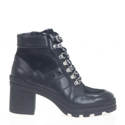 Lace-up heeled ankle boots
