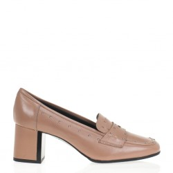 Pink heeled loafer