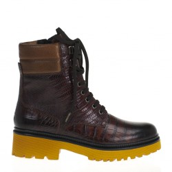 Croco wood combat boots