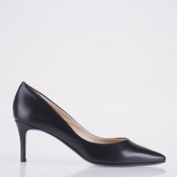 Black leather medium heel pump