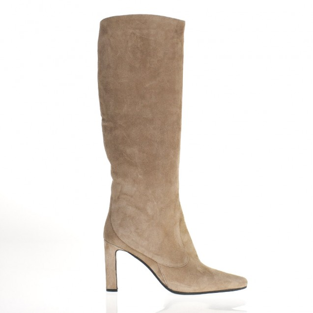 Nude suede tubular boots