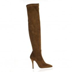Pointy toe over the knee cognac boots