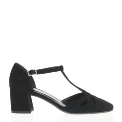 Black suede T strap pump