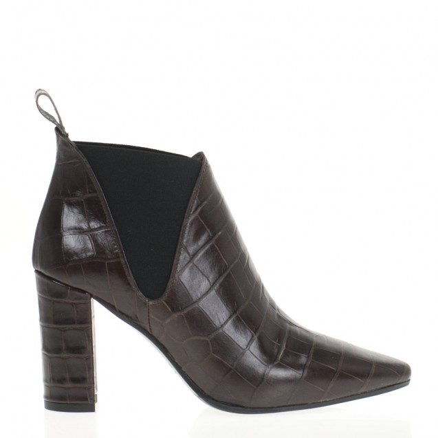 Brown croco booties