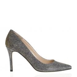Pointy toe glitter bronze pump