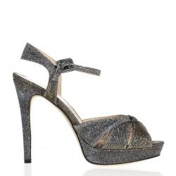 Shimmering sandal with high heel